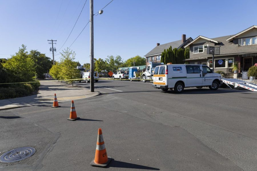 NW Monroe Avenue was blocked off Tuesday afternoon following a gas leak due to a natural gas line being struck accidentally during construction on the street. The gas line was shut off by 5:15 p.m. and officials say the street will be closed to through traffic until late Tuesday night.