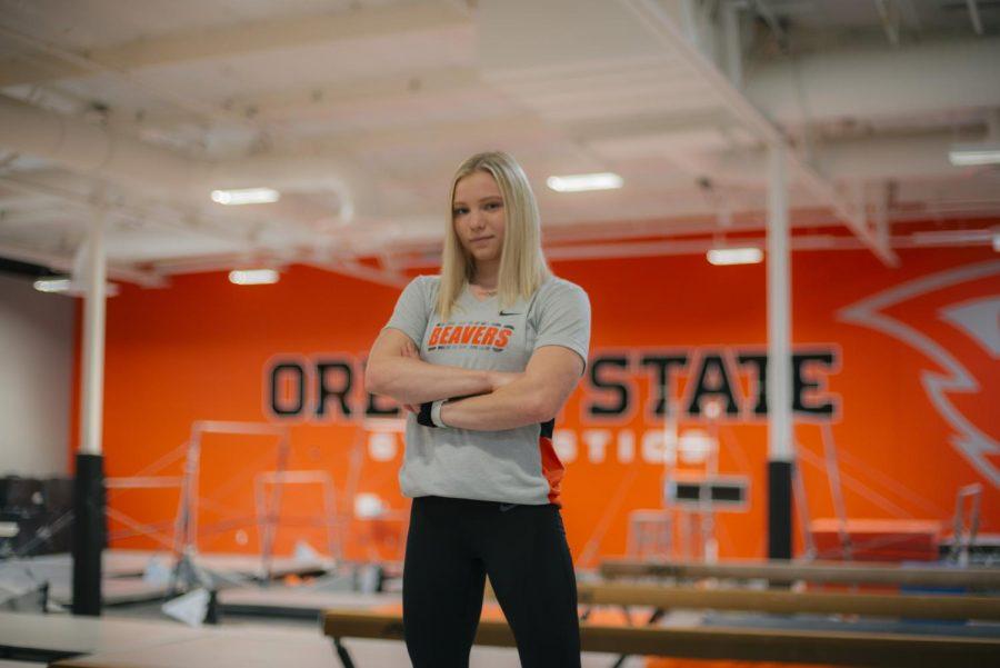 Jade Carey poses in the OSU Gymnastics Center