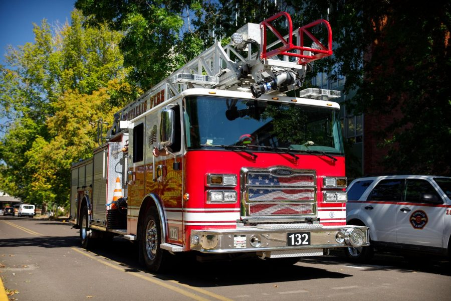 A Corvallis Fire Department fire engine departs from the Oregon State University campus after responding to a possible natural gas leak at Weniger Hall on September 8.