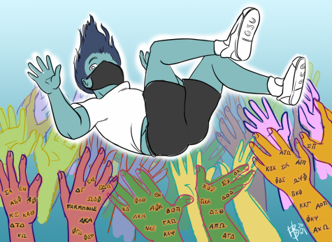 """This illustration above is meant to mimic the OSU Interfraternity Council's """"Jump Day."""" This is an event where new members of fraternities meet at the Memorial Union and are boosted into the air and caught by their new fraternity brothers."""