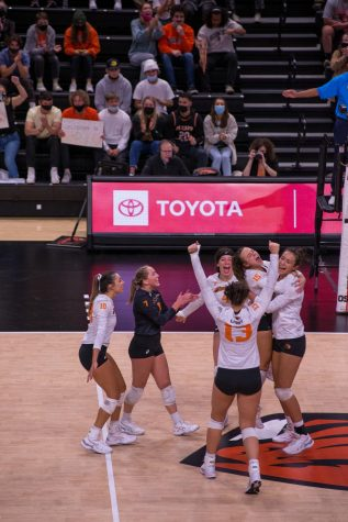 The OSU womens volleyball team celebrating after scoring a point against the No. 17 Stanford Cardinals on October 8. The Beavers would fall to the Cardinals, losing 3-0.