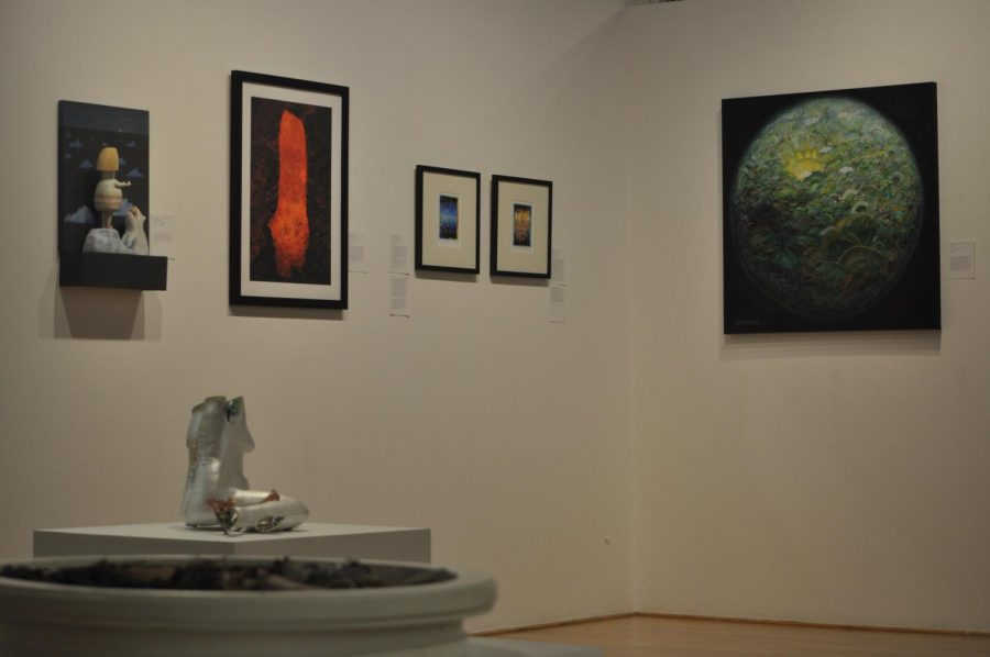 Art work displayed at the Corvallis Arts Center What Will Nature Do? exhibit, curated by Oregon State University climate scientist Dominique Bachelet. The exhibit, which is a collaborative art-science project, will be open until Nov. 13.