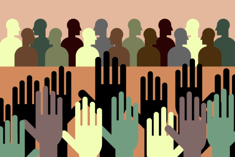 This illustration depicts a town hall meeting at Oregon State University. The Board of Trustees are gathered as multiple hands are raised in the room.