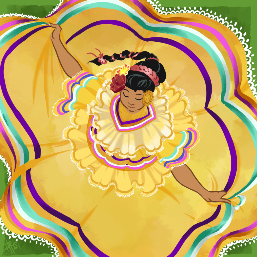 An illustration depicting a dancer twirling in a traditional Folklorico dress. National Hispanic Heritage Month celebrates distinct Hispanic cultures from Sept. 15 to Oct 15th.